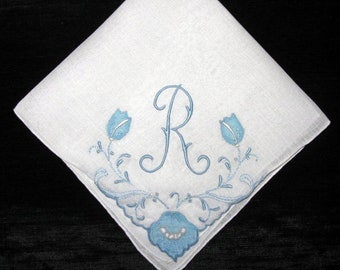 Embroidered Madeira Bridal WEDDING Handkerchiefs, Hankie Bridal Bride Letter R D B M N P E V F G or A