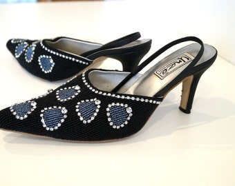 Richly embroidered shoes by SHALIMAR SHOES Size 5 Black, blue and silver beads shoes. Pointy toe beaded shoes. Sling Backs Evening  shoes