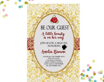 Baby shower invitation beauty and the beast invitation baby shower invitation beauty and the beast invitation beauty and the beast baby shower high tea invitation high tea baby shower filmwisefo