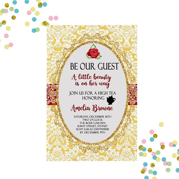 Baby Shower Invitation Beauty And The Beast Invitation