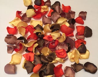 Rose Petals/Orange Petals/Yellow Petals/Autumn Wedding/Scatter Petals/Fall Wedding/Aisle Petals/Country Wedding/Satin Petals/Wedding Petals