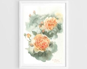 "Original watercolor,orange flowers,original painting,7""x10"",aquarelle originale,garden,home decor"