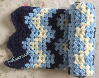 newborn crochet blanket baby boy blanket granny square blue baby shower gift swaddle receiving blanket stroller blanket photo prop car seat