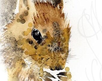 """Martinefa's Original watercolor and Ink """"Baby Squirrel"""""""