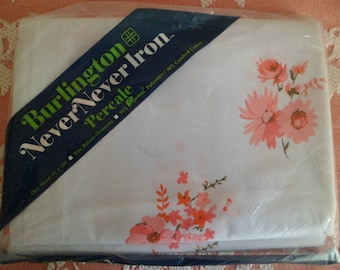 Vintage Old Stock Burlington Flat Sheet Full Double 50/50 Cotton Percale Polyester Pink Floral Roses
