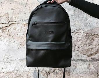 Mens Backpack Leather Backpack laptop backpacks for men College Backpack Backpacks for Men Laptop Backpack 15 inch Black rucksack
