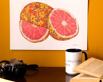 Art Print | Textile Art | Grapefruit | Free Motion Embroidery