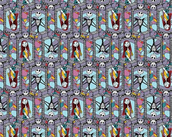 Nightmare Before Christmas Fabric Sally and Jack Stained Glass Fabric From Springs Creative 100% Cotton