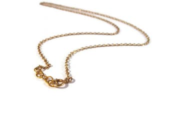 Plain Gold Chain, Gold Cable Chain, 2mm Gold Filled 16 Inch Finished Chain with One Inch Extender, Everyday Simple Necklace with Spring Ring