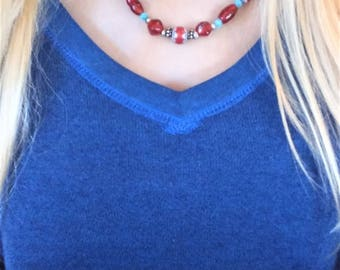 Handmade Sterling Silver Red Glass Beads and Blue Cats Eye Beaded Necklace