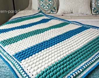 Crochet Pattern Baby Blanket Afghan Throw Blue Hawaiian PDF 17-308