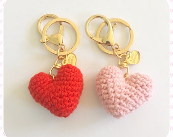 Amigurumi Hearts Set of 2 Keychains