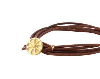Gold Sun Bracelet, Simple Leather Wrap Bracelet, Sun Button, Leather Cord Bracelet, Sun Symbol Bracelet, Gold Sun, made in California