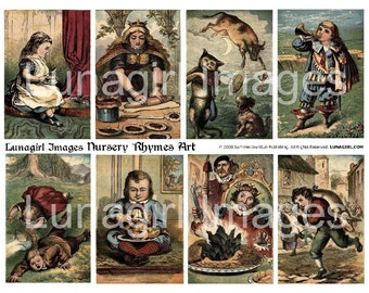 NURSERY RHYMES ART digital collage sheet, vintage images, Victorian fairy tales children's book illustrations Mother Goose children Download