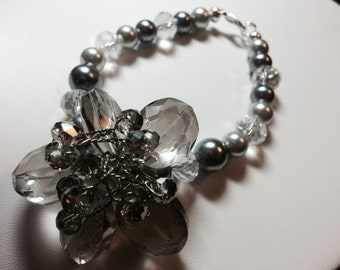 Crystal, Pearl and Swarovski Bracelet with Crystal wirewrapped Swarovski flower accent on the side