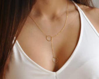 Layering circle necklace, Eternity circle, Infinity circle, Simple Y necklace, 2 circle, Small circle, Karma necklace, Dainty gold,  NS66