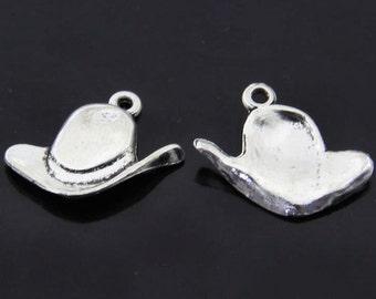 6pcs-Cow boy hat charm-Antique silver metal Charm pendant-ALK 170