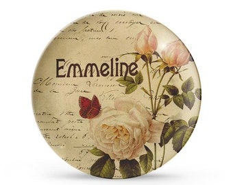 Personalized Plate, French Botanical Rose, Melamine Dinner Plate