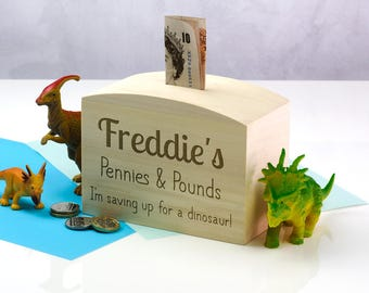 Wooden Money Box - Pennies & Pounds - Personalised Money Box - Childrens Money Box - Gift For Kids - Money Bank - Money Box - LC099