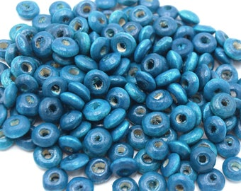 100 wooden Rondelle beads 3x6mm turquoise, blue flat round wooden bead, wooden spacer bead