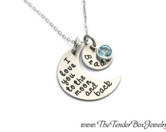 personalized necklace I love you to the moon and back hand stamped moon and name pendant necklace XFBCX