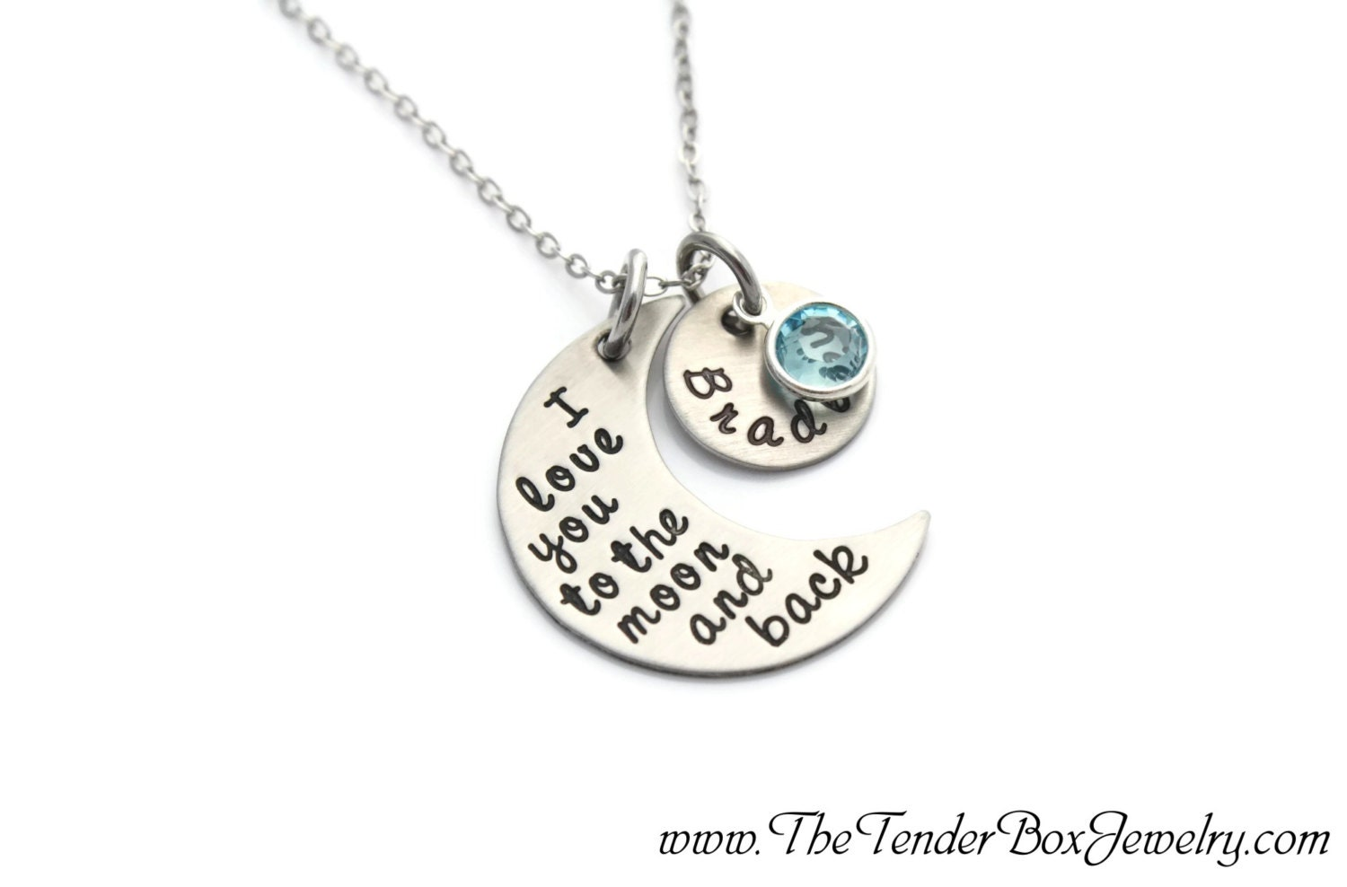 8b97c9c3e9 personalized necklace I love you to the moon and back hand stamped ...