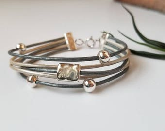 Silver multistrand leather bracelet