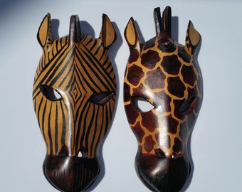 Vintage Tribal Animal Masks / 80s / Wooden Mask / Zebra Mask / Giraffe Mask / Masks / Kenyan Mask / Safari / Safari Mask / Home Decor