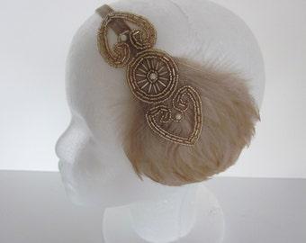 Valentine's Day headband, Great gatsby feather headband, champagne flapper headband, gatsby headpiece, 1920s dress, gatsby elastic headband