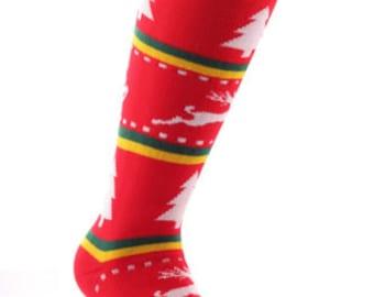 Samson® Tacky Xmas Christmas Socks Thick Knee High Ski Snow Stockings Festive Seasonal Winter Thermal Cosy Warm