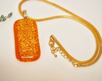 Tangerine Orange, Gold, Fused Glass Dichroic Pendant Necklace