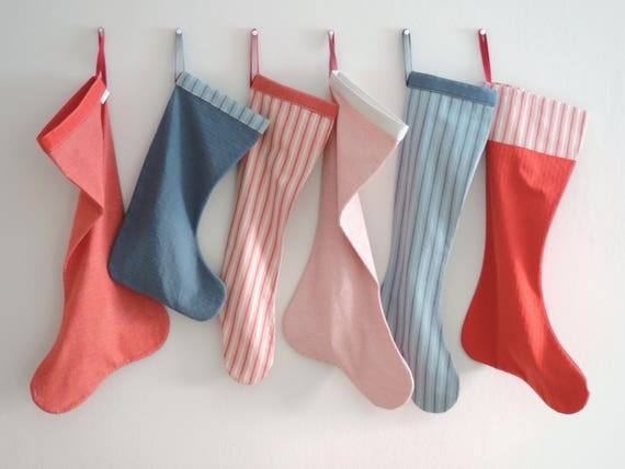 Christmas Stocking Personalized Christmas Stocking, Scandinavian, Boy Girl Family, Large Big Long, Red Blue White Stripe Cuff, Cold Mountain