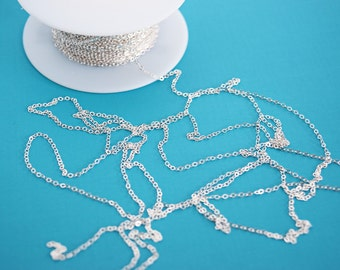 Sterling Silver 1.4mm Flat Cable Chain, Silver Chain Bulk, Sterling Silver Chain by the foot, Unfinished Chain, SS601