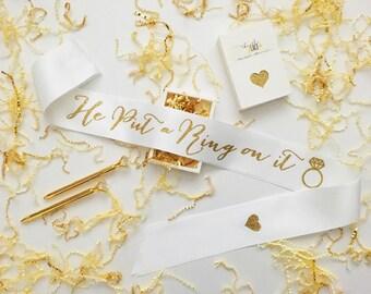 He Put a Ring on It Bridal Sash, Bride Sash, Bridal Sash, Bachelorette Sash, Hen Party Sash, Bride Gift, Bachelorette Party, Bridal Shower