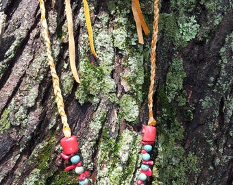 Adjustable Tribal style necklace, great for tribal bellydance. Leather, red coral, and turquoise ceramic, unisex.