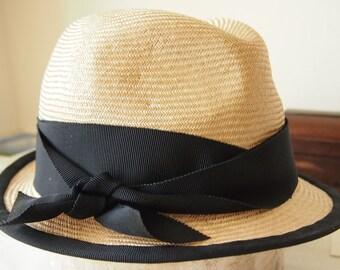 Straw hat nature-dark blue