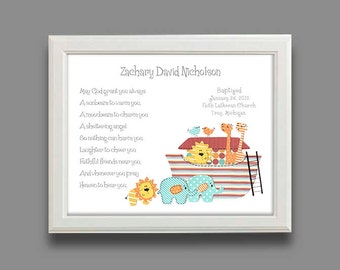 Baptism Gift - Christening Gifts for Boys -Baby Boy Personalized Print- Noahs Ark- Name Wall Art for Nursery, - PRINT