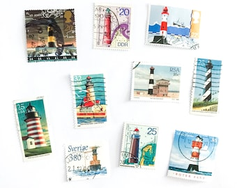 Lighthouse postage stamps - a selection of 10 used stamps from 5 countries, all different - for collage, stamp collecting, crafts, mail art
