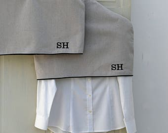 Clothing Shoulder Dust Cover Protector -- Garment Storage Organizer – Monogrammed Personalized – Set of Two