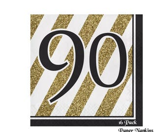 90th birthday napkins, black and gold decorations, 16CT, ninety, striped, 90th anniversary party, elegant, paper tableware, ninetieth, adult