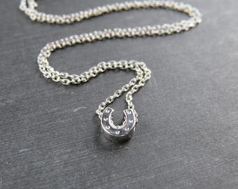 Silver horse shoe necklace, horseshoe necklace, good luck necklace, bridesmaid gift, silver horseshoe necklace