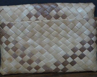 """1950s Vintage Two Piece Mens' Wicker Cards and Bills Wallet - 5"""" x 3.5"""""""
