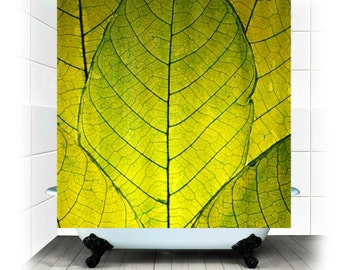 Go Green - Fabric Shower Curtain  - Photography, bathroom, home, decor, bathtub, leaves, leaf, woodland, zen, shower curtain