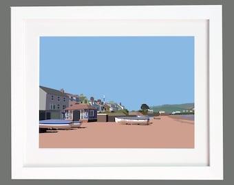 Shaldon Village, Devon Digital Illustration Print