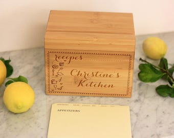 Recipe Box w/ Dividers, Custom Engraved Recipe Box, Kitchen Recipes, Mom Grandmother Chef Foodie Birthday Gift, Bamboo Wood --28521-RB01-001