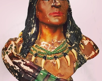 Rare Antique Chalkware Old Indian Bust Late 1800s Early 1900s SOUL and CHARACTER Peo Peo Mox Mox