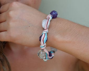 Joy Bracelet, Amethyst, Clear Quartz, Sterling Silver