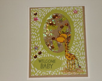 Giraffe Baby Shaker Card, Welcome Baby, Greeting Card, Adoption Card