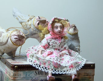 Handmade art doll/ Collectible doll/ Unique Art Doll/ OOAK Doll/ Fantasy Creature doll/ Clay doll/ Poseable Art doll/ Folk Art Doll 9 inch
