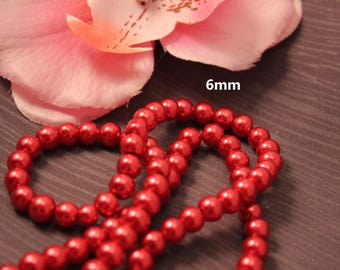 Set of 50 6mm red - creating jewelry - pearls
